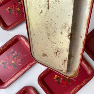 Vintage Accents - Vintage Set Floral Hand-painted Metal Trays Small